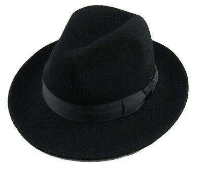 Quality Black Fedora (Australian Wool Felt) (Black Fedoras)