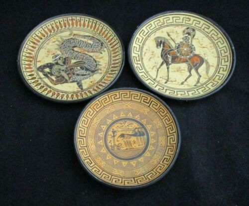Set of 3 Hand Crafted Ceramic Greek Ancient Antique Reproduction Plates