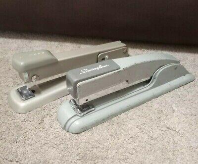 Lot Of 2 Vintage Metal Staplers Bates Model 56 Swingline