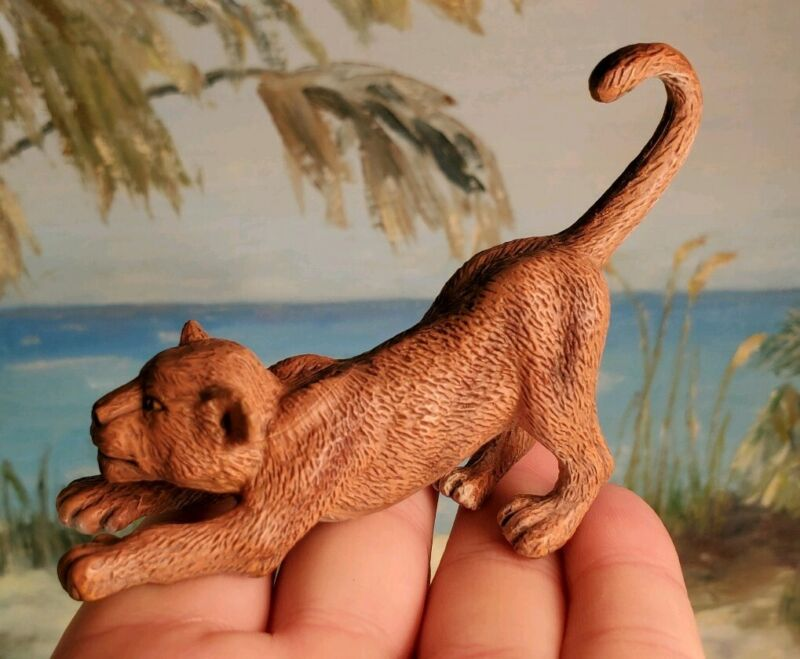 "Lion Cub Figure Figurine Toy Small PVC 3.5 X 2 5"" Playful"