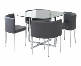 Dining Table & Chairs, Compact Dining Set, Grey. New.