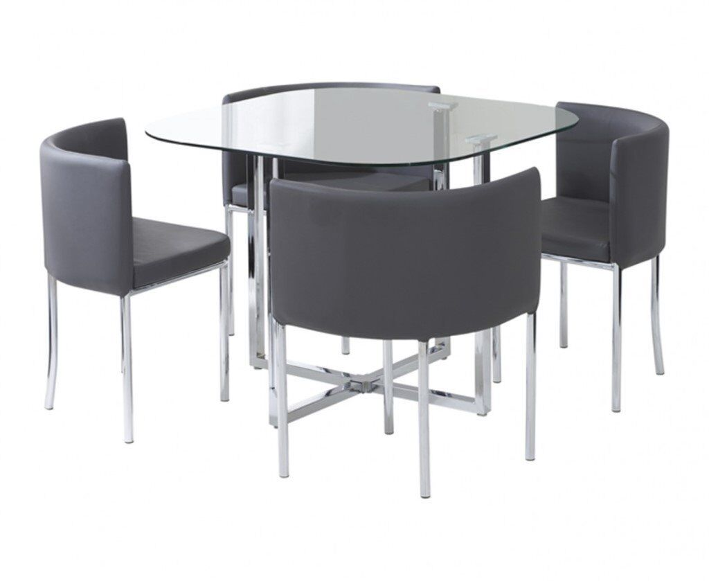 Dining table chairs compact dining set grey new in for Compact dining table and stools