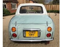 Pale Aqua Nissan Figaro, runs great but does need tlc on the bodywork. 1 year MOT. £3,495.00
