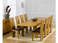 Modern Solid Oak 150cm Extendable Table and 6 Chairs