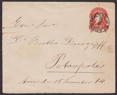 Brazil H G B8b Used 1892 100R Red Liberty Envelope To Petropolis  Scarce   F Vf