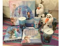 Frozen curtains, money tins, A tent, reading book with frozen toys and Olafs