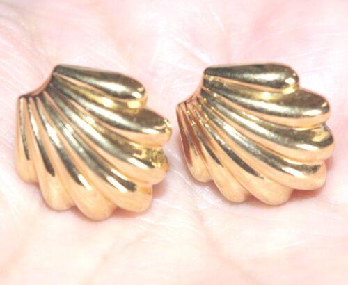 QUALITY 14K GOLD FILLED PUFF SWIRL MONET 16 MM STUD EARRINGS &10K BACKS