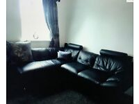 L shaped sofa brown leather effect