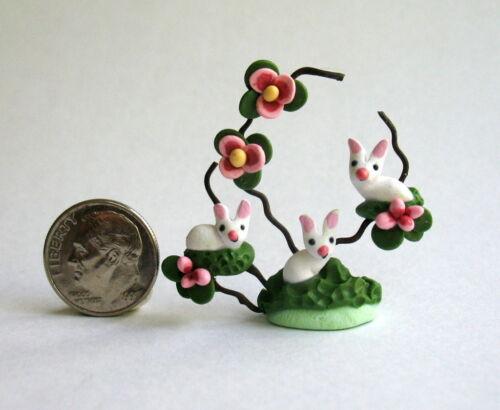 Handmade Miniature WOODLAND BUNNY RABBITS RELAXING  - OOAK C. Rohal