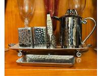 Quirky Modern Silver Tea Coffee Condiment Set Gift