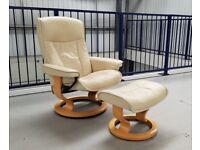 Ekornes Stressless swivel recliner leather chair and foot stool batick cream