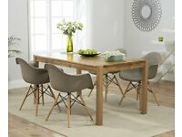 Modern Solid Oak 150cm Table and 6 Chairs