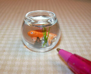 Miniature Gold Fish in Bowl w/Greenery: DOLLHOUSE Miniatures Pets 1/12 Scale