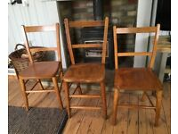 Vintage Solid Beech Chairs
