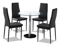 New Small Glass Round Breakfast Table and Four Black Chairs