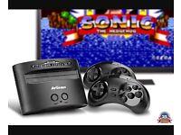 Sega mega drive console and two controllers