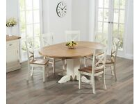 Modern Solid Oak and Cream Extendable Table and 6 Chairs