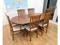 Dining / Kitchen Table with 6 chairs (Extending and 2 Carvers chairs)