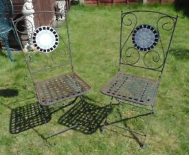 (#781) 2x metal garden folding bistro chairs chair (Pick up only, Dy4 area)