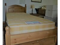 Pine single bed, with comfortable mattress