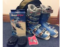 Womens Nordica Ski Boots + Bag + Boot Dryer + Grips