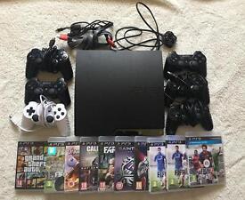 PS3+6 controllers+FIFA 17 & GTA V & MORE