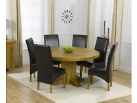 Modern Solid Oak Extendable Table and 6 Brown Chairs
