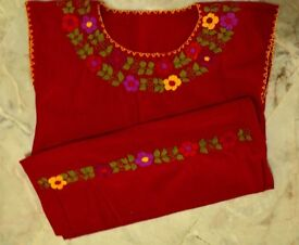 red dress hand embroidery