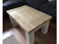 Solid wood coffee table in birch and country cream with chunky legs