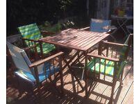 Wooden Habitat table and 4 directors folding chairs garden patio caravan camping