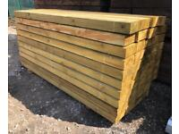 🌳 *New* Pressure Treated Wooden/ Timber Railway Sleepers ~ 2.4M