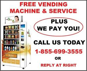FREE Healthy Snack & Beverage Vending Machine With FREE Service For Your Business, Office, Club or Studio etc.