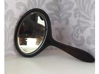 Victorian Ebony Beveled Glass Hand Mirror