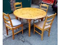 Pine Wooden Dining Table and 4 Chairs - Furniture Clearance