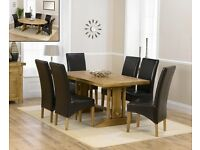 Modern Solid Oak 165cm All Sides Extendable Table and 6 Black Chairs