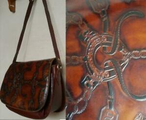 ITALIAN LEATHER PURSE Burgundy Brown Real Leather Bag ITALY Equestrian Horse Riding Tooled  Italian Oakville + Shipping