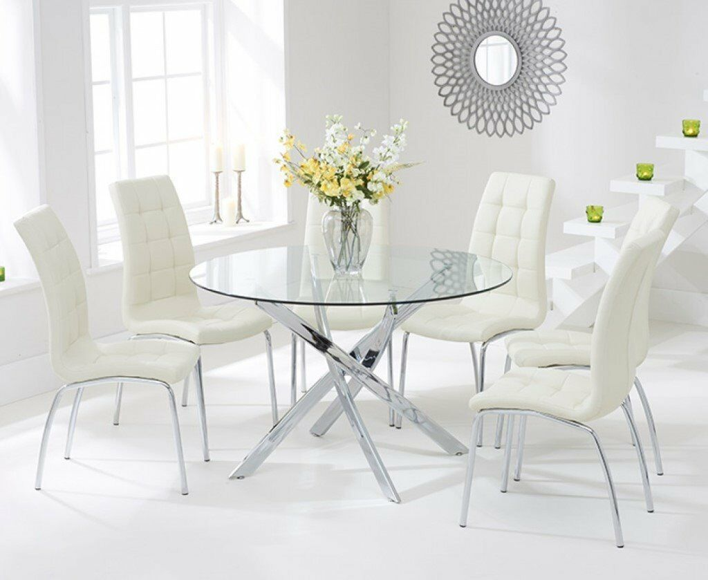 Designer Glass Table And Chairs: Modern 120cm Round Glass Table And 4 Cream Chairs