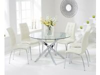 Modern 120cm Round Glass Table and 4 Cream Chairs