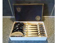 VINERS CHROMOID-VINTAGE UNUSED-VERY OLD BOXED SET OF 6 DESSERT SPOONS-1946
