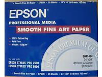Hahnemuhle and Epson Inkjet Professional Media - Mould made Paper