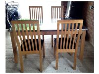 Wooden dining table with stainless steel top & 4 chairs: length 52cm, width 91.5cm, height 76cm