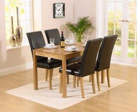 Modern Solid Oak 120cm table and 4 leather chairs