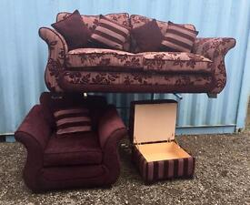DFS fabric suite & foot stool (Delivery Included)