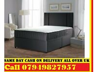 SINGLE Divan Bed & SEMI ORTHO Matrs IN BLACK DOUBLE KINGSIZE Bed