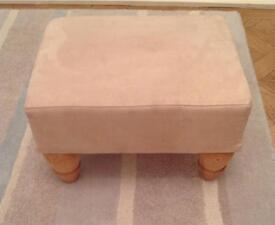 Cream Suede Footstool