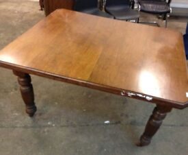 old antique dining kitchen table with 6 chairs extension table