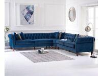 Fabric Velvet 3 Piece Corner sofa Lauren