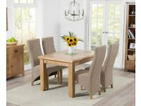 Modern Solid Oak 130cm Extendable Table and 6 Chairs