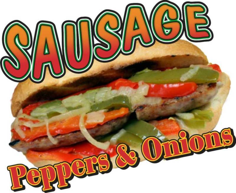 """Sausage Peppers Onions Concession Food Truck Vinyl Menu Sticker Decal 14"""""""