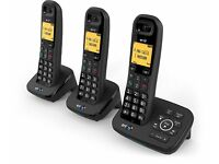 NEW! BT 1600 Cordless DECT Home Phone with Digital Answer Machine (Trio Handset Pack)
